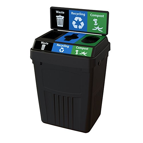 CleanRiver Flex E bin Indoor and Outdoor Sturdy 3-in-1 Waste, Recycling and Compost Bin with Backboard FX50B-BK3-W-BK-R-BE-C-GN, 50 Gallons, Black