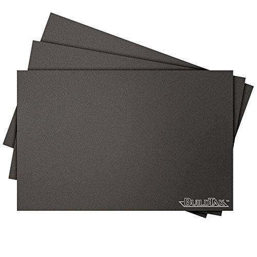 """BuildTak BT625X925-3PK Foglio di stampa 3D, 6.25"""" x 9.25"""", 159 x 235 mm, Rettangolo, Nero, Pack di 3 Pezzi"""