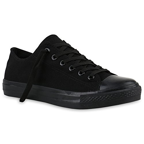 stiefelparadies Herren Schuhe Sneakers Stoffschuhe Sportschuhe Schnürer Freizeit 139966 Schwarz Black 42 Flandell