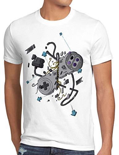 style3 16-Bit Controller T-Shirt Herren SNES NES Kart Yoshi Luigi Mario, Größe:M, Farbe:Weiß