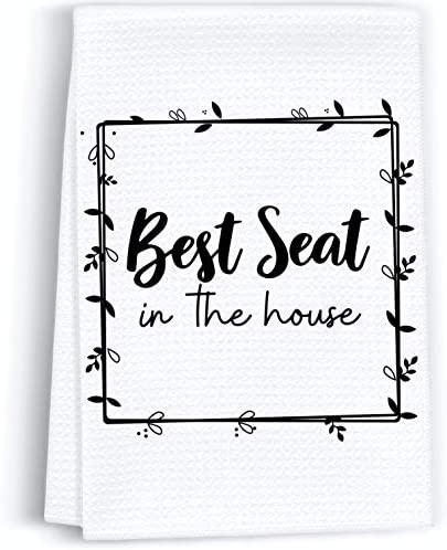 Peaces of Joy Best Seat in The House Funny Hand Towel Sayings for Bathroom Rustic Cute Dish product image