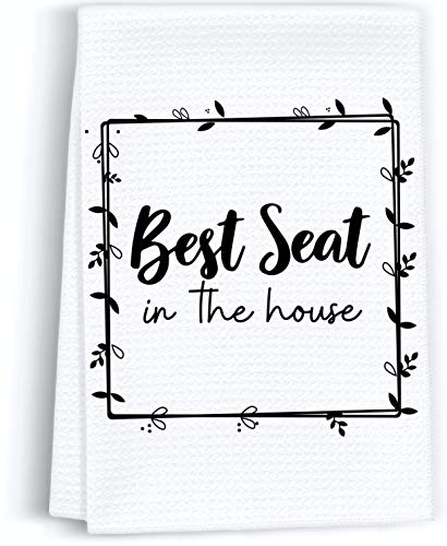 Peaces of Joy Best Seat in The House Funny Hand Towel Sayings for Bathroom, Rustic Cute Dish Kitchen Towels for Home, Decorative Farmhouse Bath Sign