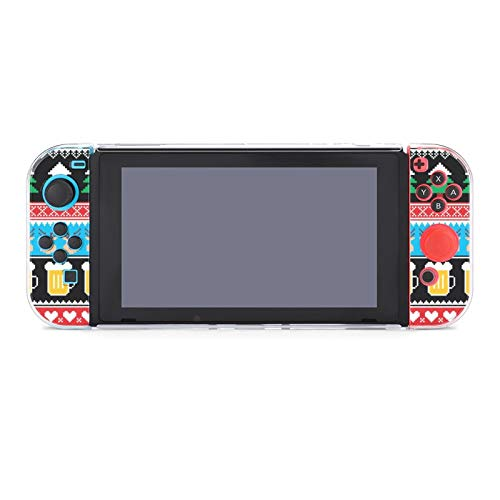 Dockable Switch Case for Nintendo, Games Protective Hard Carrying Clear Cover Case - Christmas Jumper Pattern with Beer