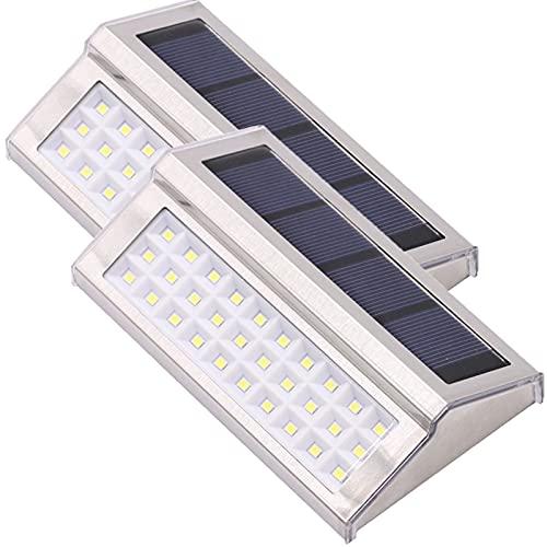 CLLX Luz Solar Exterior 30 LED Focos Led Jardín Solares Entrada de Auto, Valla, Terraza, Puerta de Entrada, Decoración de Escaleras, Resistente al Agua,Warm Light