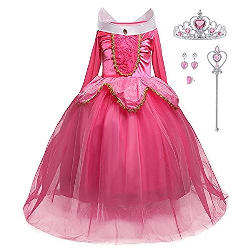 LiUiMiY Costumi Bambina Principessa Vestito Carnevale Lunga Manica Tulle Diadema Cosplay Festa Nuziale Compleanno Carnevale Abito per Ragazze, rosa, 116-122 (etichetta 120)