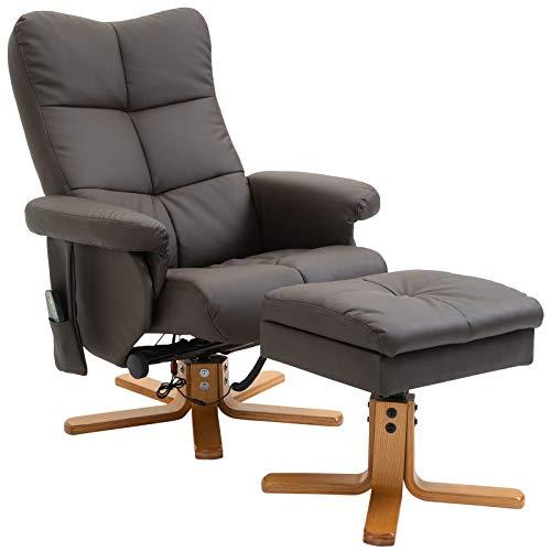 HOMCOM Massagesessel mit Fußhocker Relaxsessel Heizfunktion 145°-Neigung PU Braun 80 x 86 x 99 cm