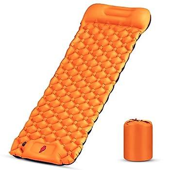 Karvipark Matelas de camping auto-gonflant ultra léger avec oreiller, pliable, léger, petit encombrement, imperméable pour l'extérieur, voyage, randonnée, plage, (orange, bleu marine)