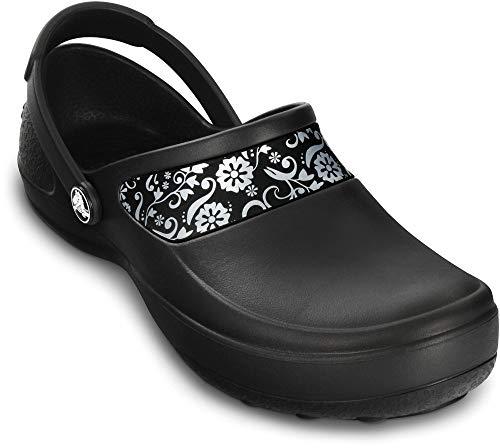 Crocs Women's Mercy Work Clog, Black/Silver, 8 M US
