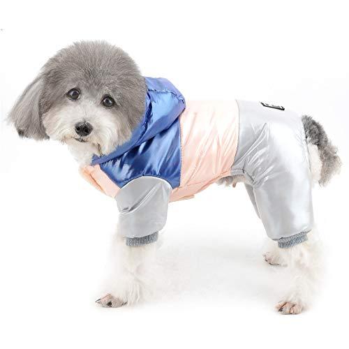 Ranphy Chaqueta de forro polar impermeable para perro con capucha, abrigo para niños y niñas, ropa de invierno, cálida, acolchada, con capucha, cortavientos, para ropa de clima
