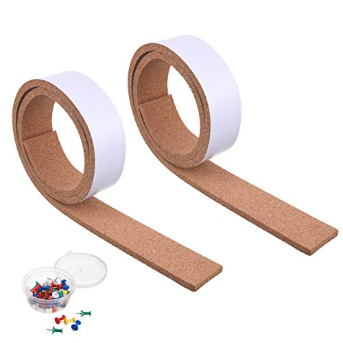SUNGIFT Cork Strips for Walls Bulletin Bar Strip Set 2 Pieces, 2 x 50 Inch, Frameless Self-Adhesive Cork Board Roll Thick Strip with 50 PCS Pushpins for Office, School and Home