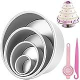 Senbos Molde Redondos para Tartas, Aluminio 4 Piezas (4/6/8/10 Pulgadas) Moldes para Pasteles,...