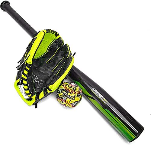 Ortiz34 Homerun Kids Tee Ball Set- David Ortiz 3-in-1 Aluminum Baseball Bat, Baseball, & Youth Baseball Glove Bundle (Made for Youth/Kids) (Volt/Black)