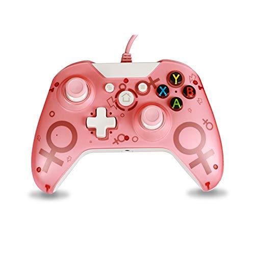 Kabelgebundener Controller Gamepad Kompatibel mit Xbox One, Xbox One S, Xbox One X, Windows PC Controller mit Dual-Vibration (Pink)