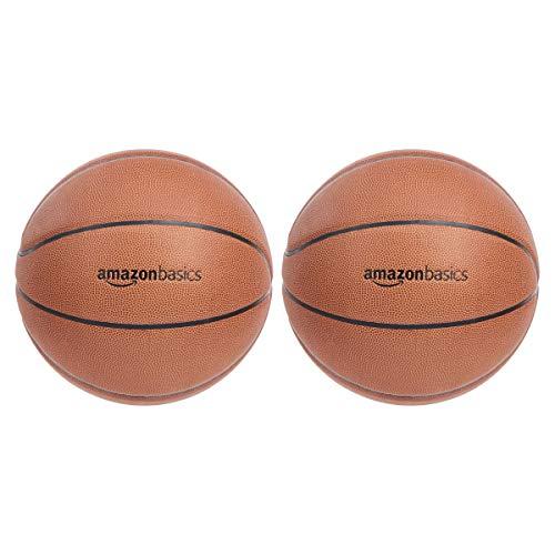 Amazon Basics - Balón de baloncesto hecho de compuesto de poliuretano, talla intermedia, 2 unidades
