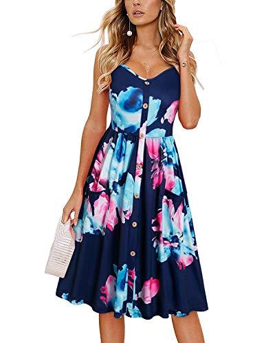 KILIG Damen-Sommerkleid Spaghettiträger Button Down Sommerkleid mit Taschen - mehrfarbig - Groß