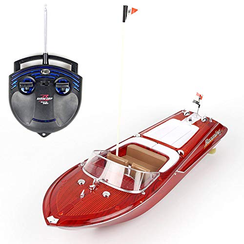 FING 2.4G Racing Boat Model, High Speed 25KM/H Electronic, Toy RC Boat for Kids, Retro Style, RC Speed Boat, 4CH Simulation Yacht Sailing