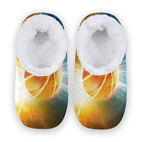 TropicalLife JNlover - Zapatillas de baloncesto abstractas para mujer y hombre, con parte trasera cerrada, cómodas zapatillas de forro polar coral, para interiores y exteriores, color, talla Medium