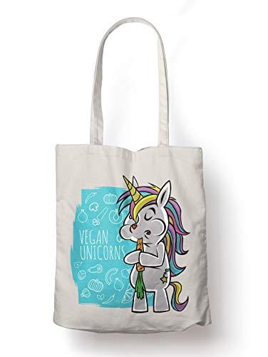 BLAK TEE Cute Vegan Unicorn Organic Cotton Reusable Shopping Bag Natural