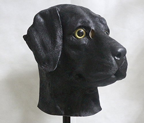 The Rubber Plantation TM 619219291392 nero accessorio cane labrador pieno testa lattice maschera travestimento di Halloween Animal costume canino, unisex, taglia unica