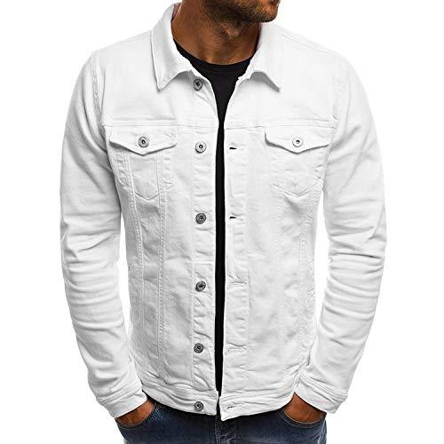 Streetwear Casual Denim Chamarra con Cuello abatible, único Pecho, Abrigos de Jeans sólidos