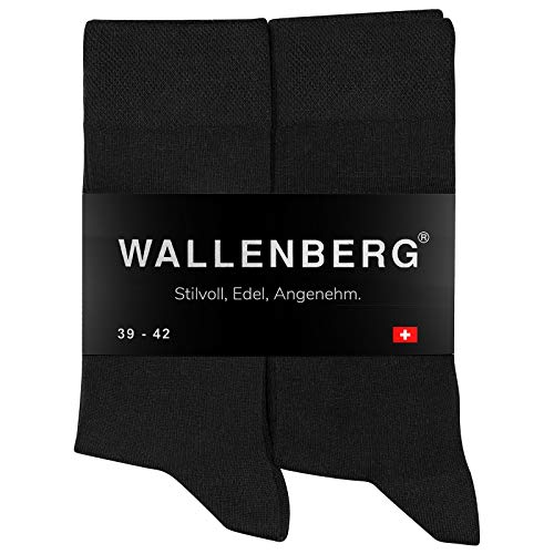 Wallenberg Business Socken Herren Damen Baumwolle 43-46 | Schwarz | 10 Paar