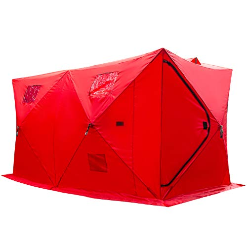 Happybuy 8 Person Ice Fishing Shelter, Pop-Up Portable Insulated Ice Fishing Tent, Waterproof Oxford Fabric Red