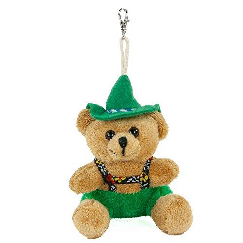 Teddys Rothenburg Euro Souvenirs, Schlüsselanhänger, Trachtenteddybär, 9 cm, braun/grün, Plüschteddybär