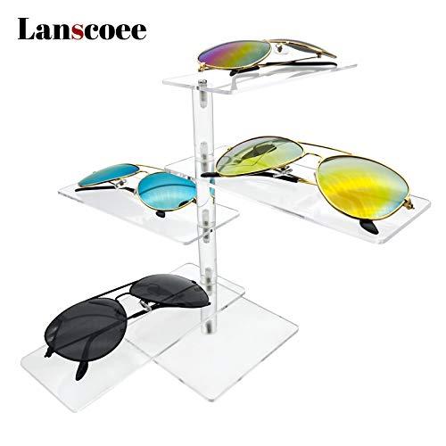 Lanscoee サングラス&メガネスタンド ディスプレイ サングラス 収納 アクリル めがね 眼鏡 置き コレクション 回転式 展示用 透明 4本 オシャレ かっこいい(4階式)