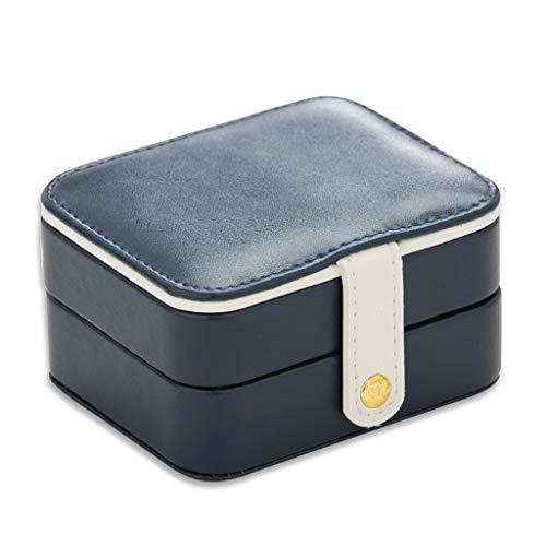 LTCTL Organizador De Joyería Portátil Organizador Doble Viaje Mini Pequeña Caja De Joyería con Joyería De Espejo Organizador Caja para (Color : Dark Blue)