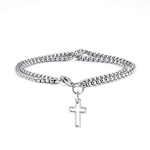 Jovivi - Pulsera de cruz para hombre, unisex, cristiana, cadena de acero inoxidable, regalo para el día del padre religioso