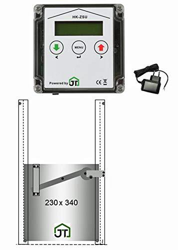 JOSTechnik JT-HK automatische Hühnerklappe 230 x 340 mm selbstverriegelnd mit Zeitschaltuhr und echter Nothaltefunktion