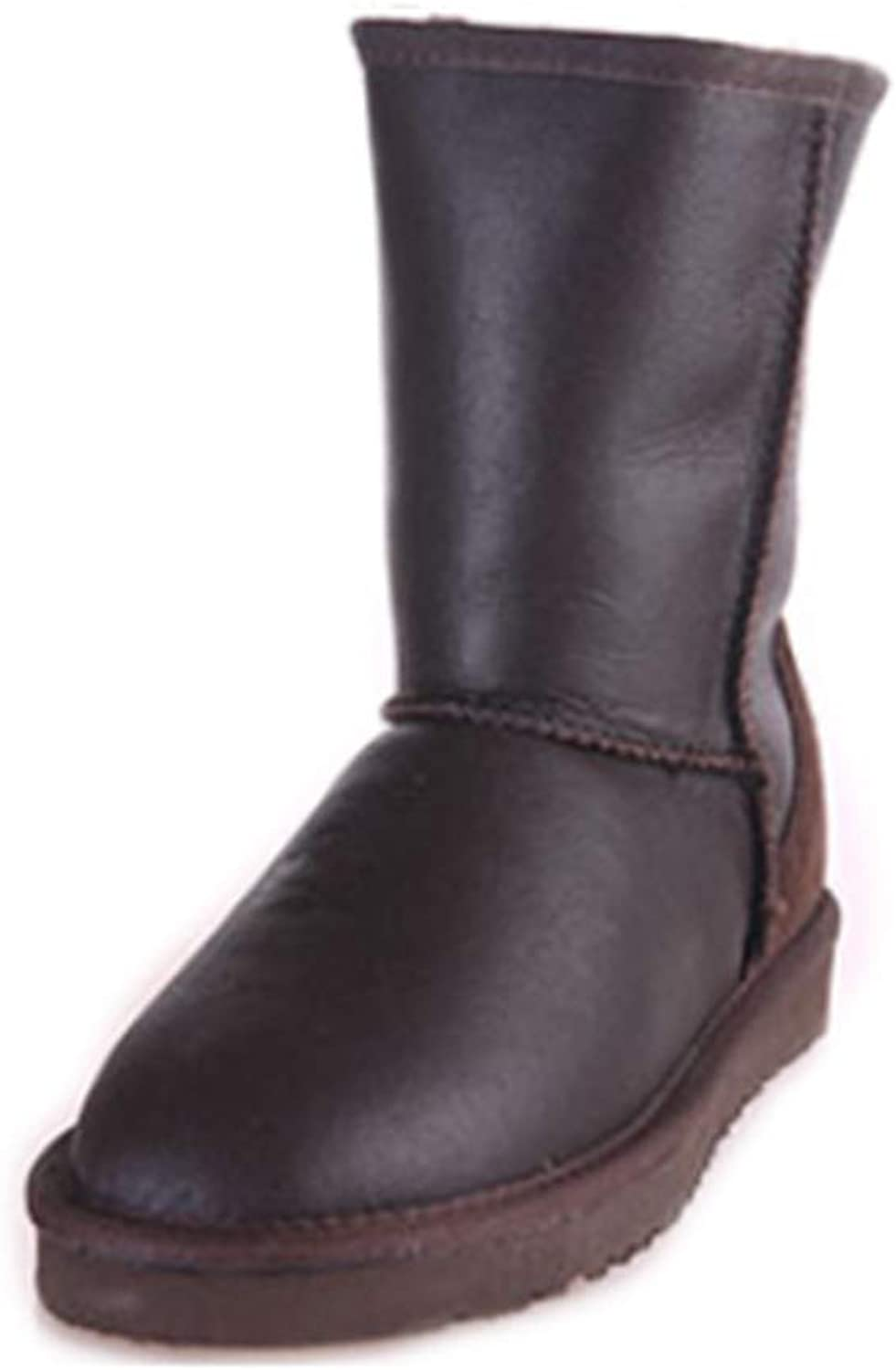 INOE CREATE GLAMOUR Women Winter Boots Genuine Sheepskin Leather Real Sheep Fur Lined Classic Mid-Calf Waterproof Winter Snow Boots Women Winter shoes Metal Black