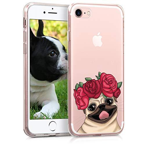 kwmobile Cover Compatibile con Apple iPhone 7 8   SE (2020) - Back Case Custodia Posteriore in Silicone TPU Cover per Smartphone - Back Cover Mops & Roses Fucsia Beige Trasparente