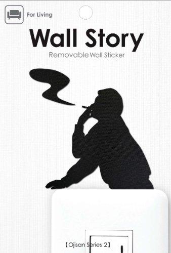Wall Story2 おじさんシリーズ2 一服 パッケージサイズW100×H148mm 本体黒色 TC生地 アクリル 紙 WS-O2-12