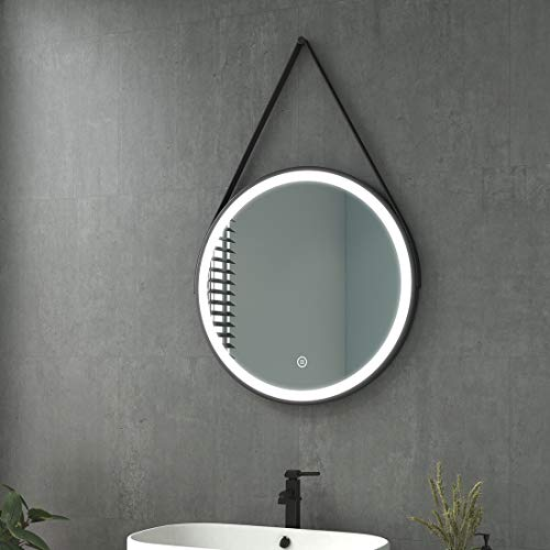 welmax Badezimmerspiegel mit Beleuchtung Rund LED Badspiegel 60 cm Durchmesser Spiegel Kaltweiß Lichtspiegel Wandspiegel mit Touchschalter, Wasserdicht IP44, Energieklass A++, Schwarz Rahmen