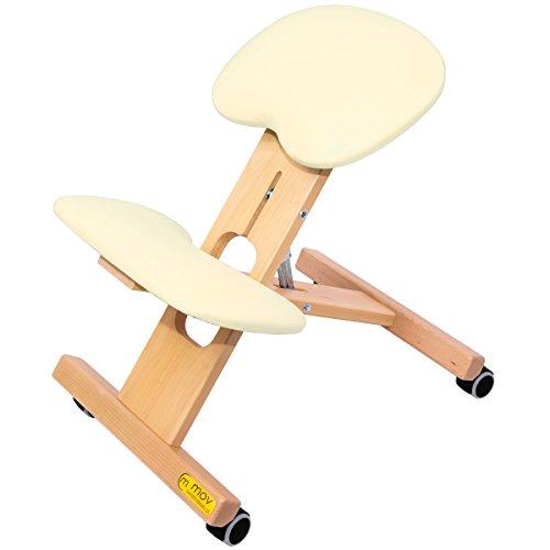 ERGO-OFFICE Buche Kniestuhl Kniehocker Sitzhocker Bürohocker Gesundheitsstuhl - höhenverstellbar, bequem gepolstert, rollbar (Ecru)