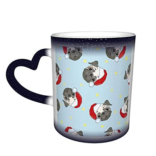 MENYUAN Taza de café Cachorro Pug Navidad mágica sensible al calor color cambiante taza en el cielo tazas de café regalos personalizados para los amantes de la familia amigos
