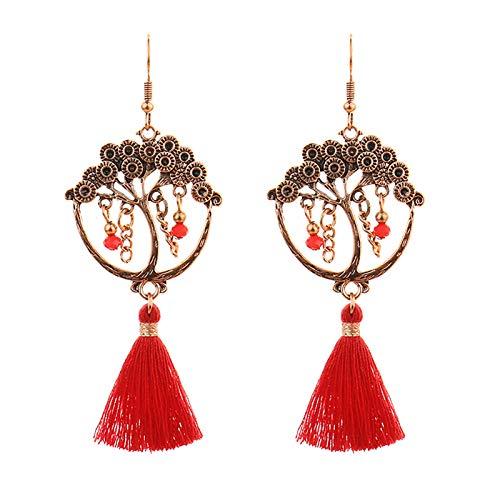 Ruby569y Pendientes colgantes para mujeres y niñas, pendientes largos de gota de moda con flecos rojos largos de moda para niñas – 03