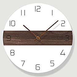 N /A Wall Clock Round Wall Clock Non-Ticking Silent 30cm Nordic Style Home Decorating Living Room Quartz Modern Design Timer Bedroom Minimalist