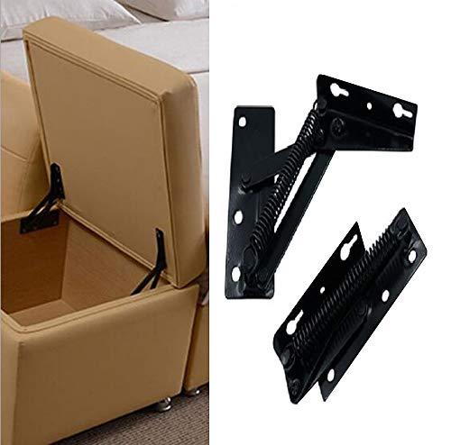 YUM 2 piezas de soporte de elevación plegable de 80 grados, la bisagra de resorte negro se usa ampliamente en el elevador de bisagras de sofá,