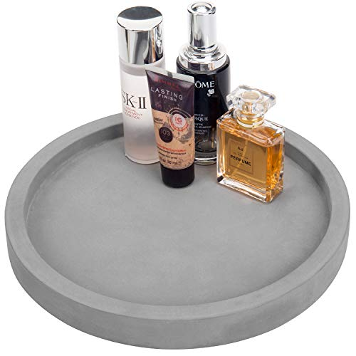 MyGift 11-inch Classic Cement Gray Round Vanity Tray