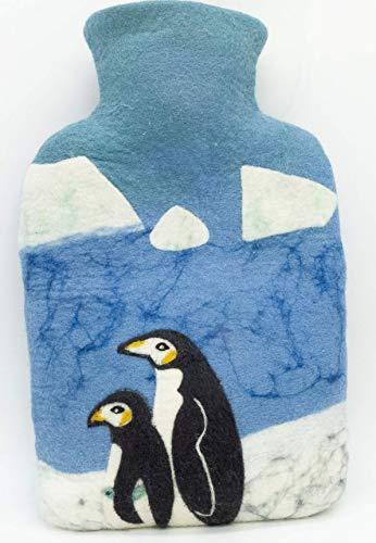 feelz - Wärmflasche gefilzt Pinguin blau Filz Wolle (Merino) Wärmflaschenbezug Handarbeit - Fairtrade