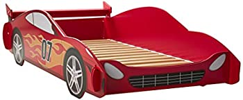 Legaré Furniture Children s Race Car Standard Bed Frame for Kids Red and White Twin Size