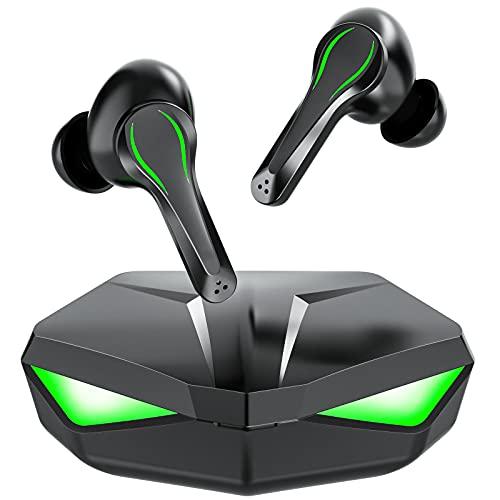 Bluetooth イヤホン ゲーミングイヤホン Bluetooth5.0 35ms超低遅延 ワイヤレスイヤホン AAC対応 マイク内蔵 LEDライト CVC8.0 ノイズキャンセリング搭載 ゲーミングブルートゥース イヤホン ゲーミング完全ワイヤレス イヤホン IPX5防水 ゲームモード・音楽モード付け (green)