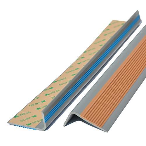 Cierre de Escaleras Borde de Paso de ángulo de 50x25mm para escaleras al Aire Libre Interior PVC 1.5M Longitud Autoadhesivo Escalera Anti resbalón sin Deslizamiento Exterior e Interior
