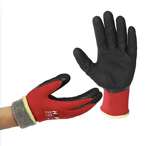 Arbeitshandschuhe Herren und Damen - HPHST C432CW Thermo Winterhandschuh Montagehandschuhe Grip Doppelbeschichte Handschuhe wasserdichte Öldichte Gartenhandschuhe (Rot-Schwarz) Größe: 9/L 1 Paar