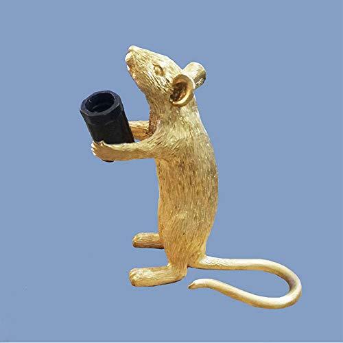 Kreative Harz Tier Mini Maus Lampe Tischlampe Wohnzimmer Schlafzimmer Nacht Restaurant Persönlichkeit Augenschutz dekorative Lampe-Goldener Stil B_Sitzposition: 6,2 * 15 * 12 cm