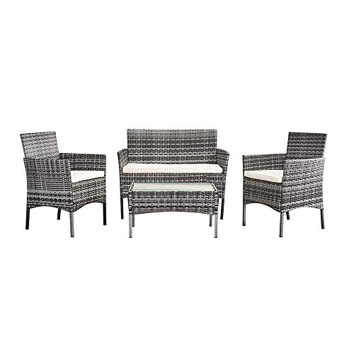 XUHAHAZNSH Juego de Mesa de sofá de ratán con 4 Muebles de jardín de Mimbre, salón, Mesa de Centro, sofá de ratán