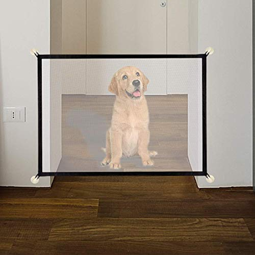 U-picks - Puerta mágica para mascotas o bebés, plegable y portátil, ideal para perros o gatos, en escaleras en interiores y exteriores, 110 x 72 cm