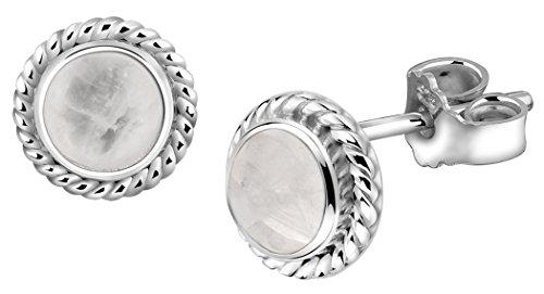 Nenalina Silber Damen-Ohrringe Ohrstecker rund mit Geburtsstein Mondstein weiß für Frauen und Mädchen, 925 Sterling Silber, Ohrstecker für Damen, Geburtsstein Ohrringe, 222999-004